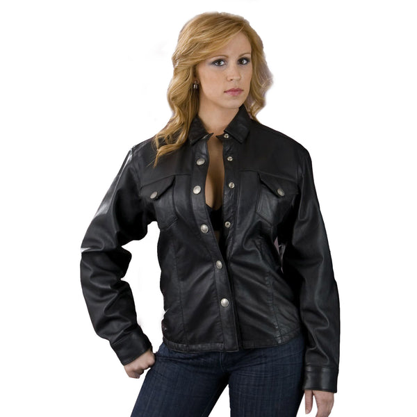 Leather King SH8028 Ladies Black Lambskin Leather Shirt
