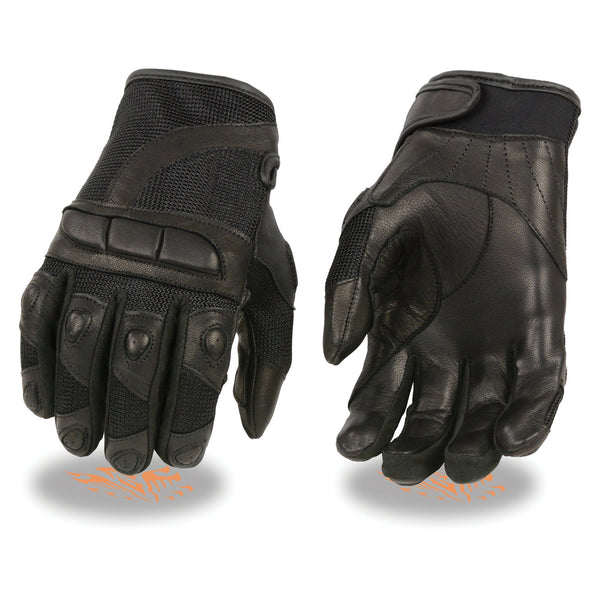 Milwaukee Leather SH802 Ladies Black Leather and Mesh Racing Gloves with Padding