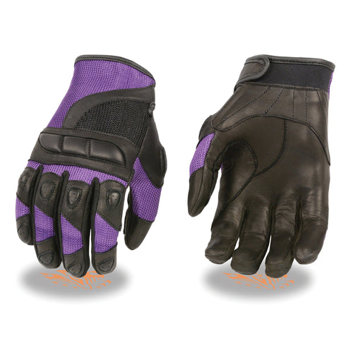 Milwaukee Leather SH802 Ladies Black and Purple Leather with Mesh Combo Racing Gloves