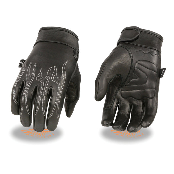 Milwaukee Leather SH820 Men's 'White Flames' Leather Cruising Gloves with Gel Palm