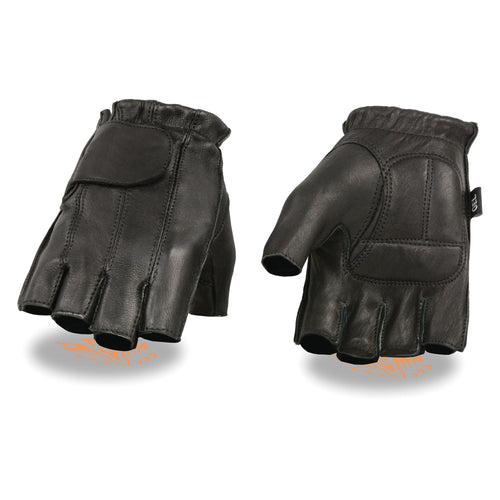 Milwaukee Leather SH850 Men's Black Deerskin Full Panel Fingerless Gloves with Gel Palm