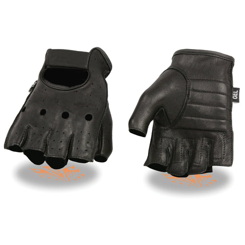 Milwaukee Leather SH851 Men's Black Deerskin Fingerless Gloves with Gel Palm