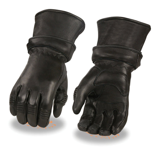 Milwaukee Leather SH852 Men's Black Deerskin Gauntlet Gloves with Gel Palm