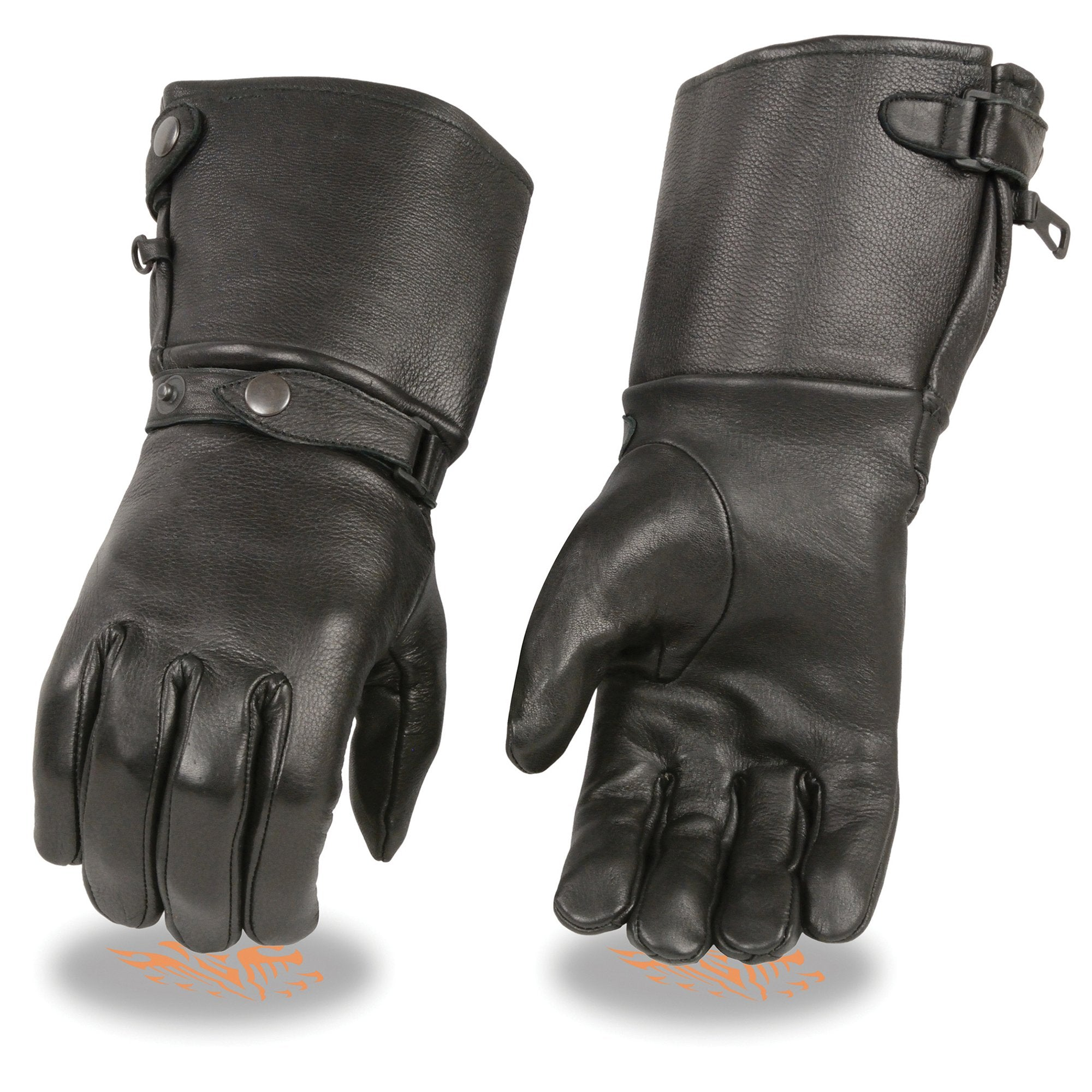Milwaukee Leather SH857 Men's Deerskin Thermal Lined Gauntlet Gloves withSnap Wrist and Cuff
