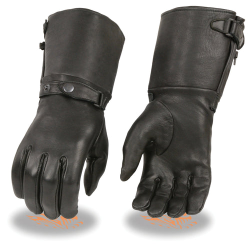 Milwaukee Leather SH859 Ladies Black Deerskin Thermal Lined Gauntlet Gloves