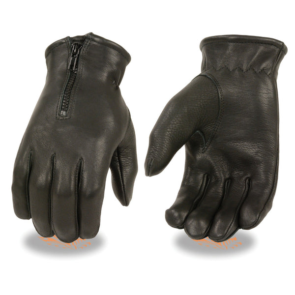 Milwaukee Leather SH866 Men's Black Deerskin Thermal Lined Gloves