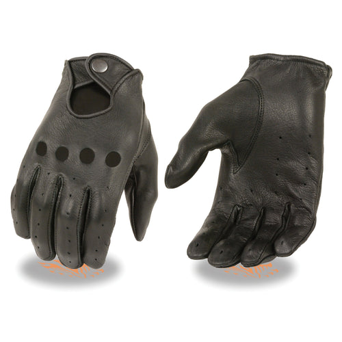 Milwaukee Leather SH869 Men's Black Deerskin Unlined Professional Driving Gloves
