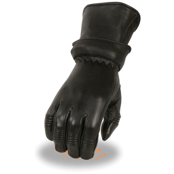 Milwaukee Leather SH870 Ladies Black Deerskin Gauntlet Gloves with