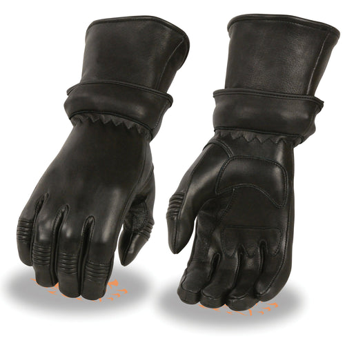 Milwaukee Leather SH870 Ladies Black Deerskin Gauntlet Gloves with Zip Off Cuff