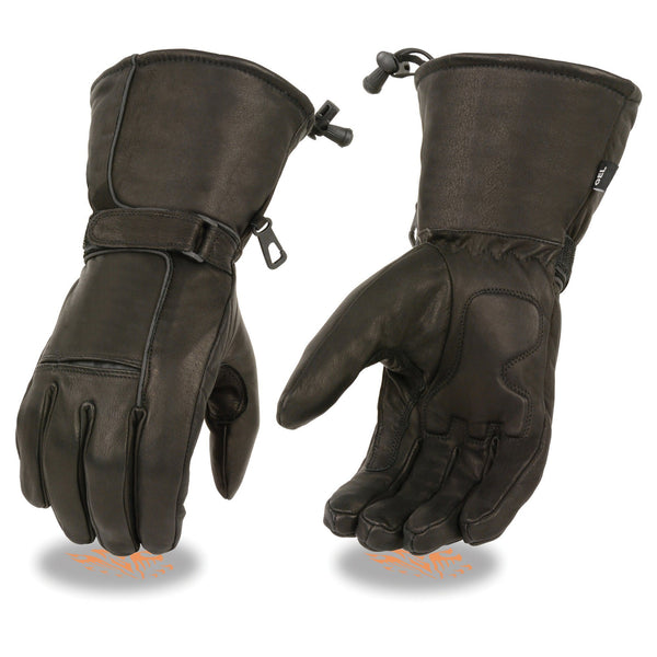 Milwaukee Leather SH873 Men's Black Leather Waterproof Gel Palm Gauntlet Gloves