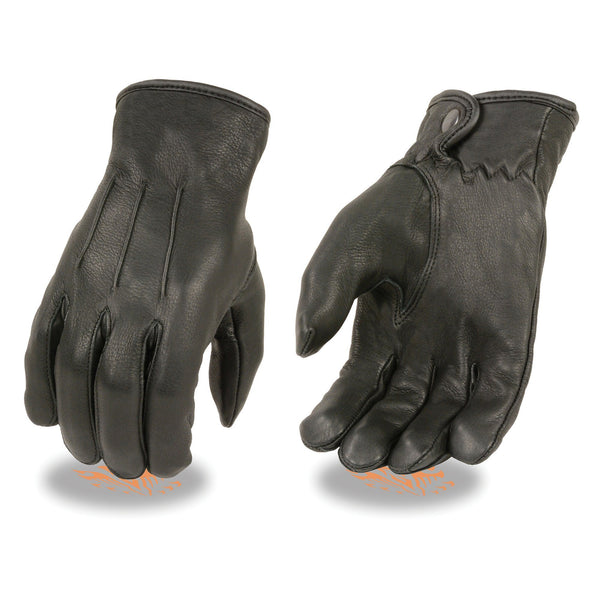 Milwaukee Leather SH875 Men's Black Thermal Lined Deerskin Gloves with Snap Wrist