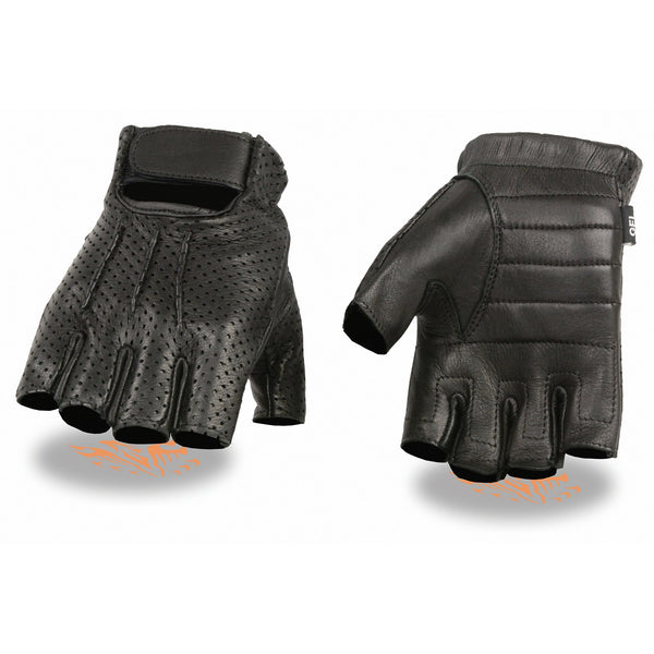 Milwaukee Leather SH877 Men's Black Perforated Deerskin Fingerless Gloves with Gel Palm
