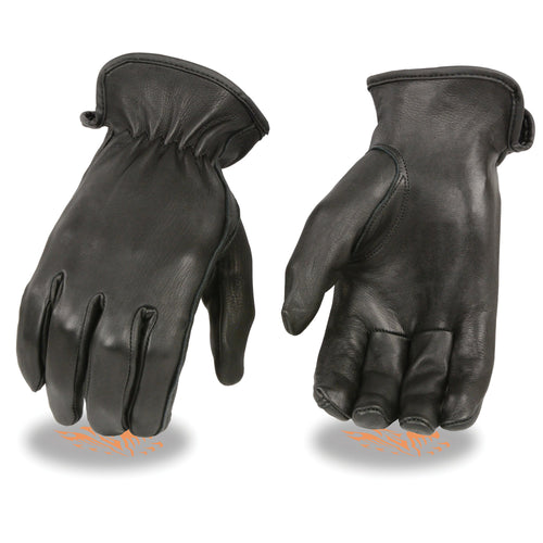 Milwaukee Leather SH886 Ladies Black Unlined Deerskin Gloves with Cinch Wrist