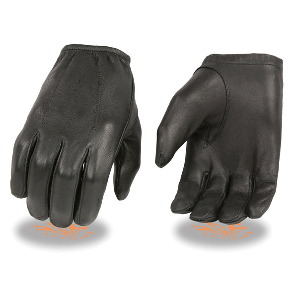 Milwaukee Leather SH887 Men's Black Short Wrist Deerskin Unlined Leather Gloves