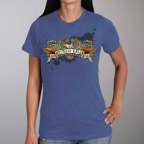 Official 2021 Sturgis Motorcycle Rally SPL1741 Ladies Heather Blue Tattoo Eagle T Shirt