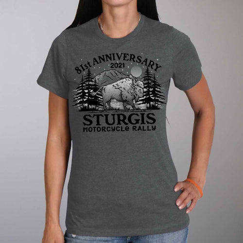 Official 2021 Sturgis Motorcycle Rally SPL1746 Ladies Orion Camp T Shirt