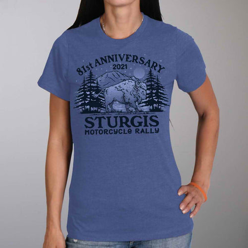 Official 2021 Sturgis Motorcycle Rally SPL1748 Ladies Heather Blue Camp T Shirt