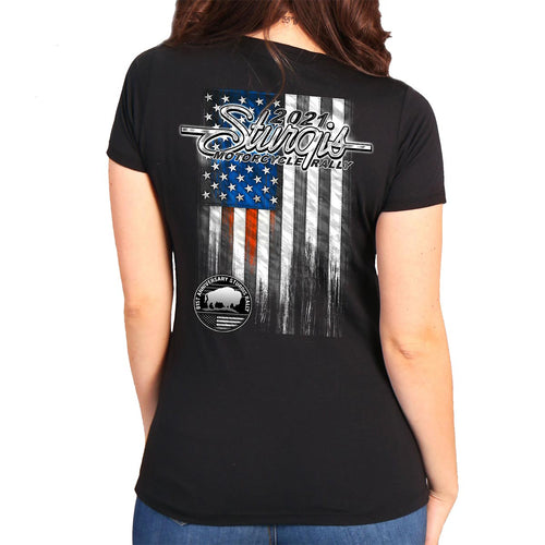 Official 2021 Sturgis Motorcycle Rally SPL1749 Ladies Black Heartbeat Flag T Shirt