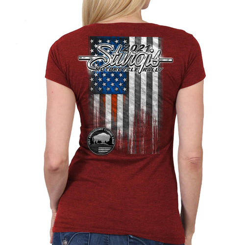 Official 2021 Sturgis Motorcycle Rally SPL1751 Ladies Heather Red Heartbeat Flag T Shirt