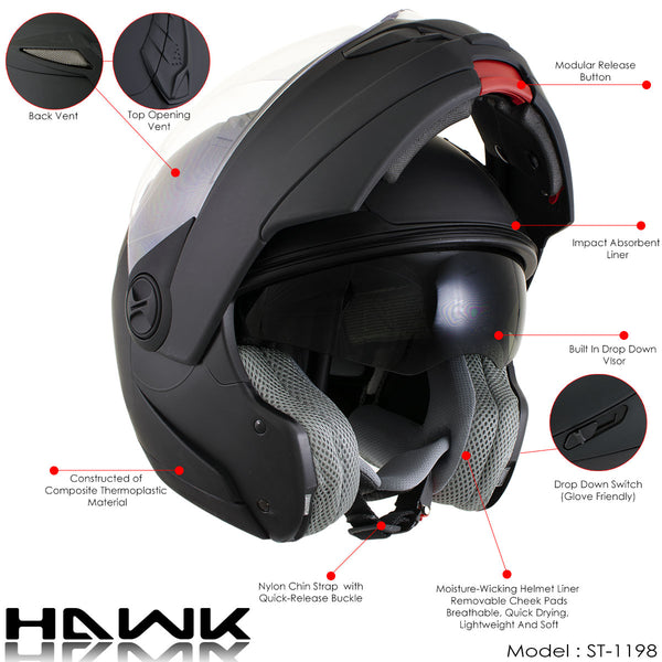 Hawk ST-1198 'Transition' 2 in 1 Glossy Black Modular Helmet Milwaukee Leather MP7922FMSET Heated Balaclava Bundle