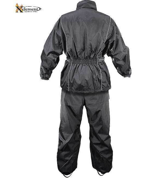 Xelement RN4760 Men's Black 2-Piece Motorcycle Rain Suit with Boot