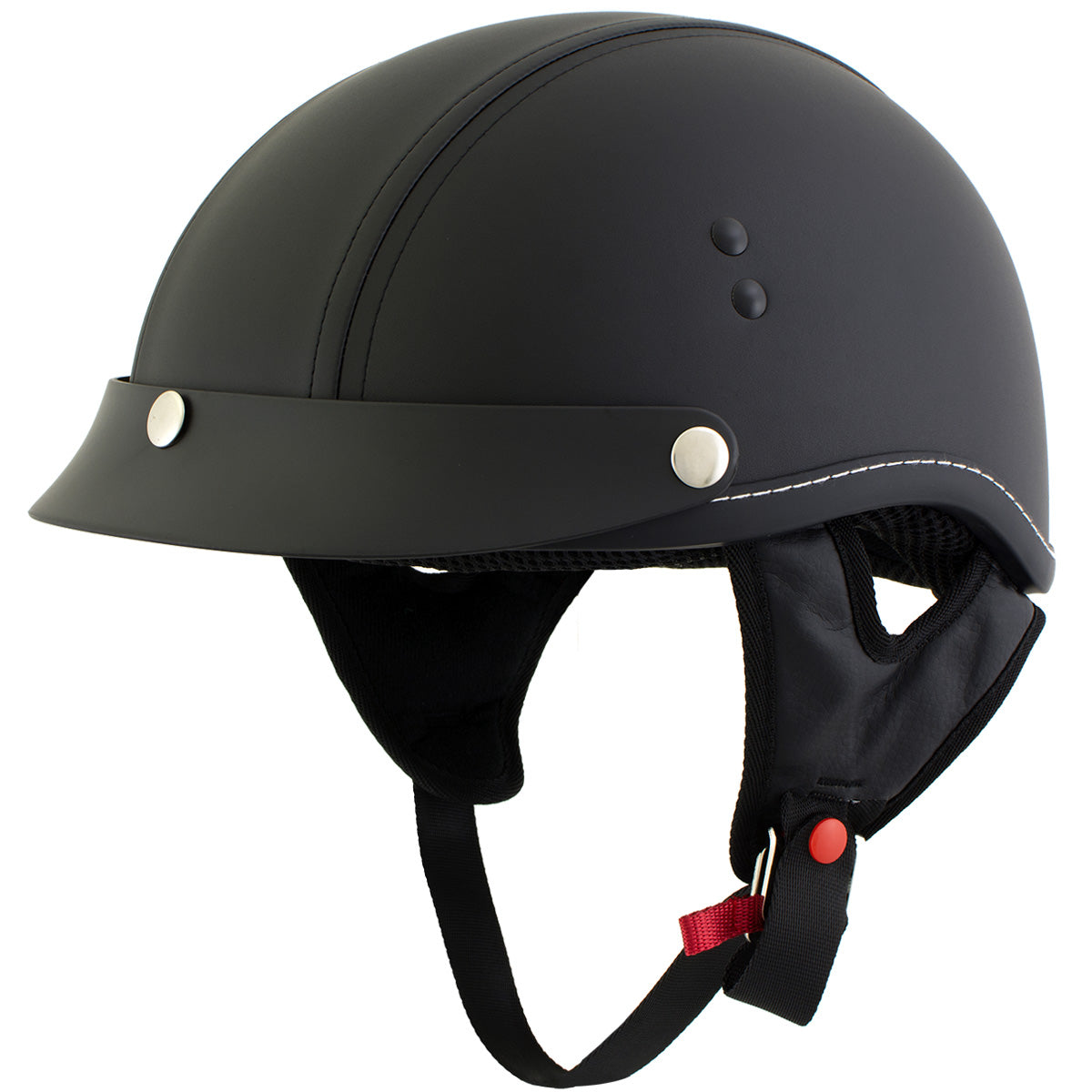 Outlaw T70 'Dark Rider' Black Leather Like Half Helmet with Snap Visor