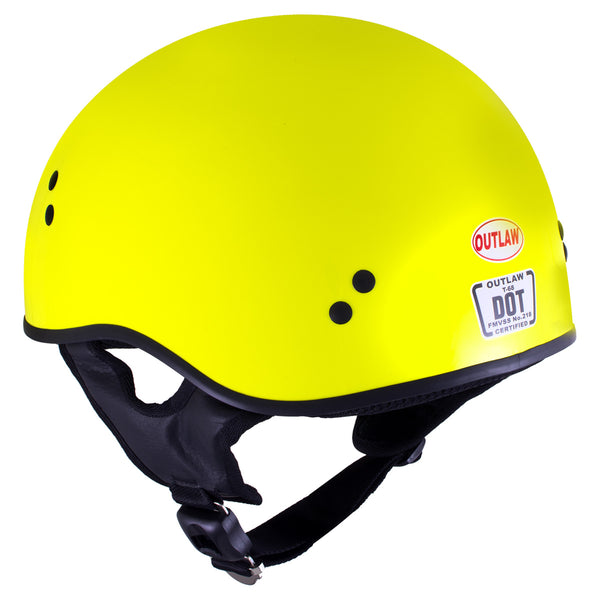 Outlaw T68 'The O.G.' Hi-Vis Yellow Advanced Motorcycle Skull Cap Half