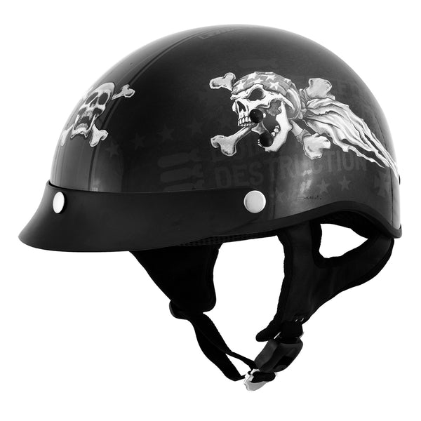Outlaw T-70 'Freedom Skull' Advanced Motorcycle Half Helmet with Removable Visor