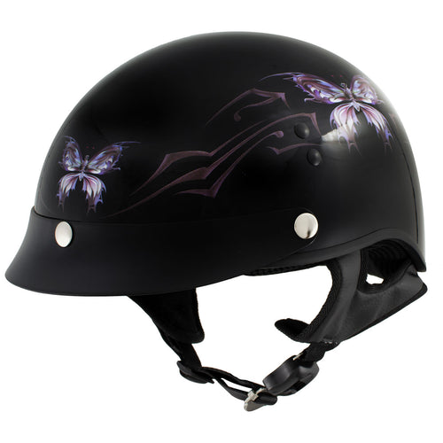 Outlaw T70 'Purple Butterfly' Advanced DOT Glossy Black Motorcycle Half Helmet