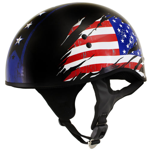 Outlaw T68 'Stars and Stripes' Advanced DOT Black Glossy Motorcycle Skull Cap Half Helmet