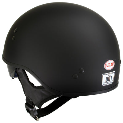 Outlaw T-72 'Black Widow' Flat Black Motorcycle Half Helmet with Drop