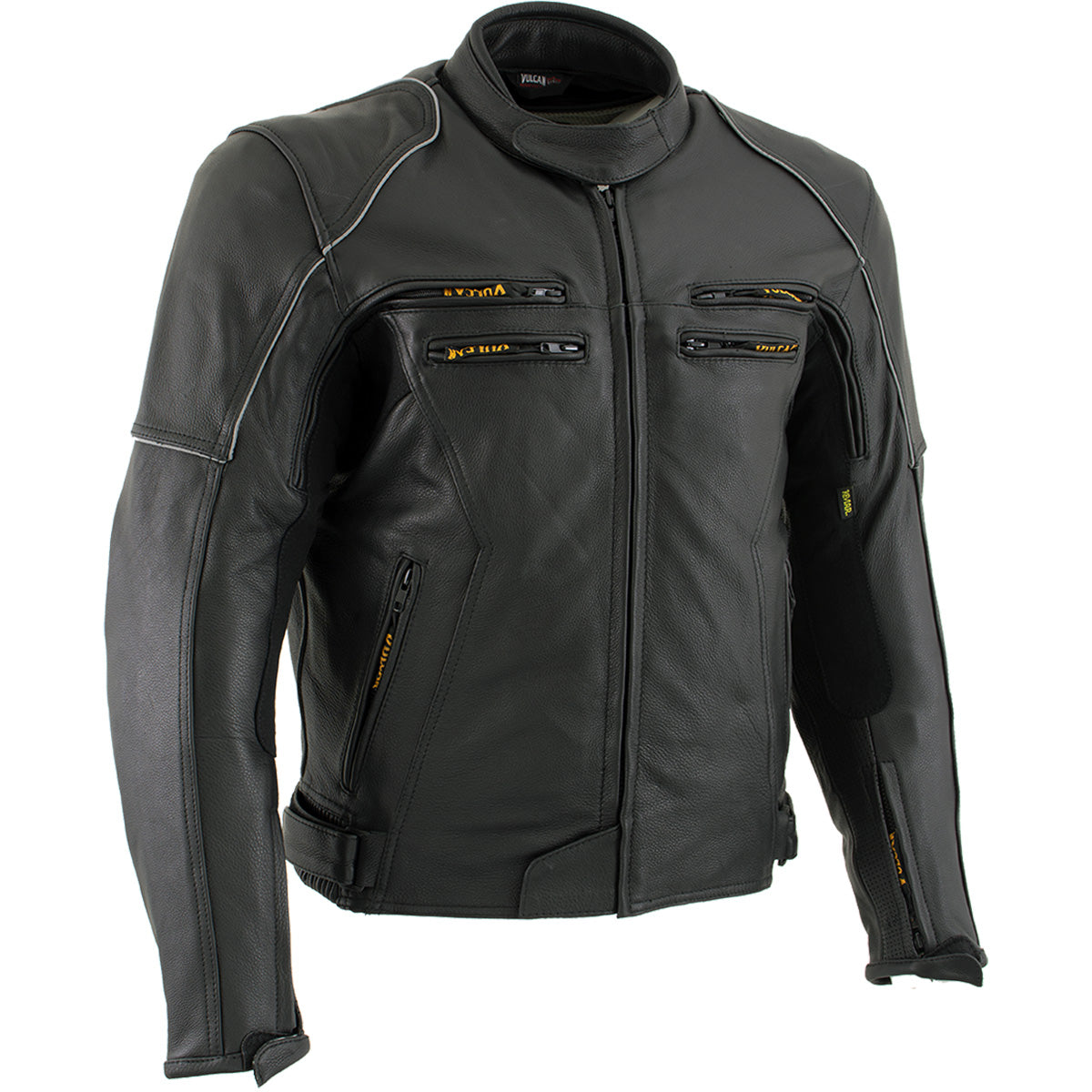 Vulcan VNE 98431 'Ace' Men's Black Leather Armored Motorcycle Jacket
