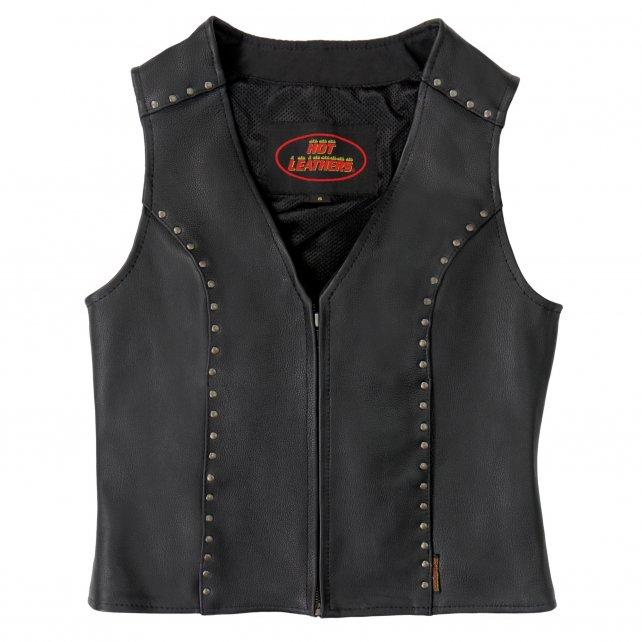 Hot Leathers VSL1015 Studded Ladies Leather Vest with Conceal Carry