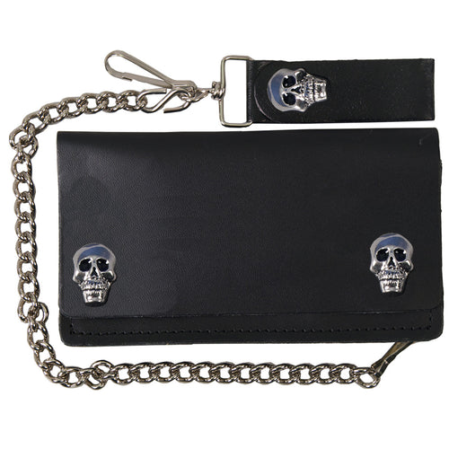 Hot Leathers WLA2004 Skull Snap Bi-Fold Black Leather Wallet with Chain