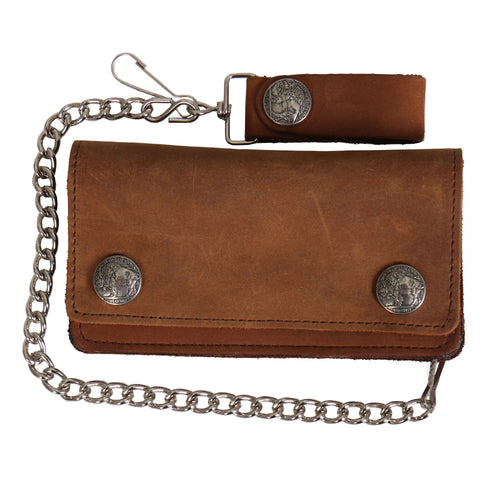Hot Leathers WLA2016 Brown Buffalo Nickel Bifold Leather Wallet with Chain