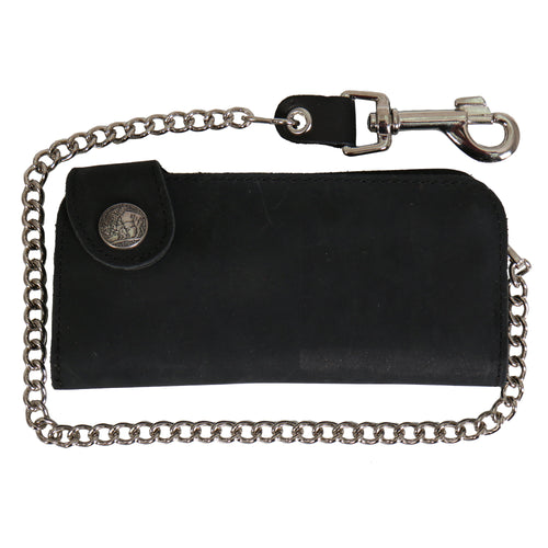 Hot Leathers WLA3001 Black Buffalo Nickel Snap Bi-Fold Wallet with Chain