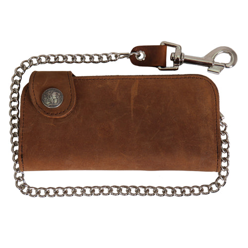 Hot Leathers WLA3002 Brown Buffalo Nickel Snap Bi-Fold Wallet with Chain