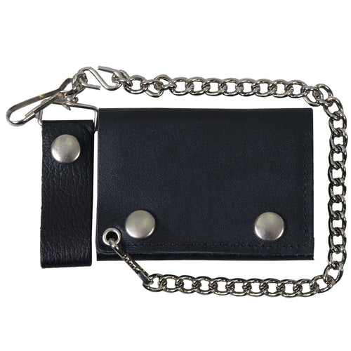 Hot Leathers WLB1001 Classic Black Leather Wallet with Chain
