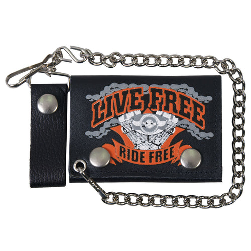 Hot Leathers WLB1009 Live Free, Ride Hard Black Leather Wallet with Chain