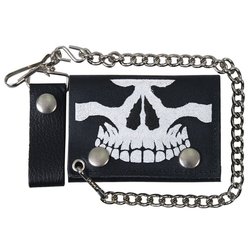 Hot Leathers WLB1010 Skull Black Leather Wallet with Chain