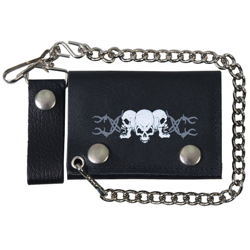 Hot Leathers WLB1014 Barbed Wire Skulls Black Leather Wallet with Chain