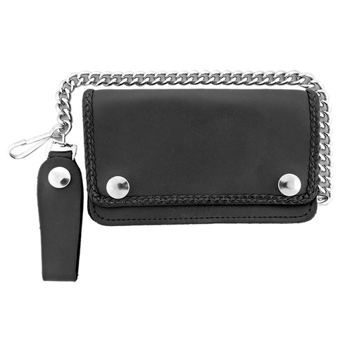 Hot Leathers WLC1002 5 Pocket Bi-fold Braided Detail Black Leather Wallet with Chain
