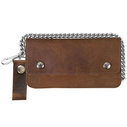 Hot Leathers WLC2008 Distressed Brown Bi-Fold Leather Wallet with Chain
