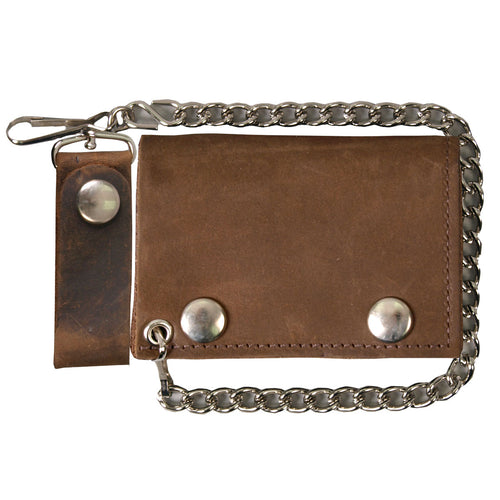 Hot Leathers WLC2010 Distressed Brown Tri-Fold Leather Wallet with Chain