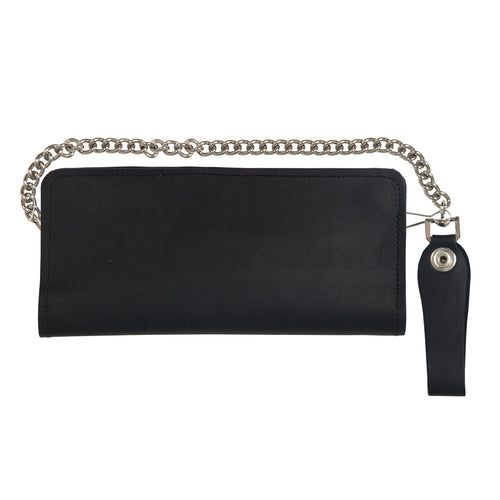 Hot Leathers WLC2201 Double Fold 4 Pocket Leather Wallet with Chain
