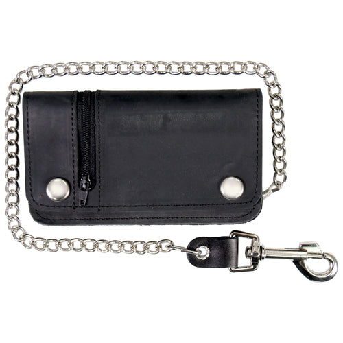 Hot Leathers WLC3101 Black Naked Leather Wallet with Change Pocket and Chain