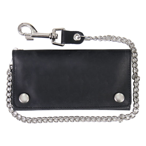 Hot Leathers WLC3102 Black Naked Leather Tri-Fold Wallet with Chain