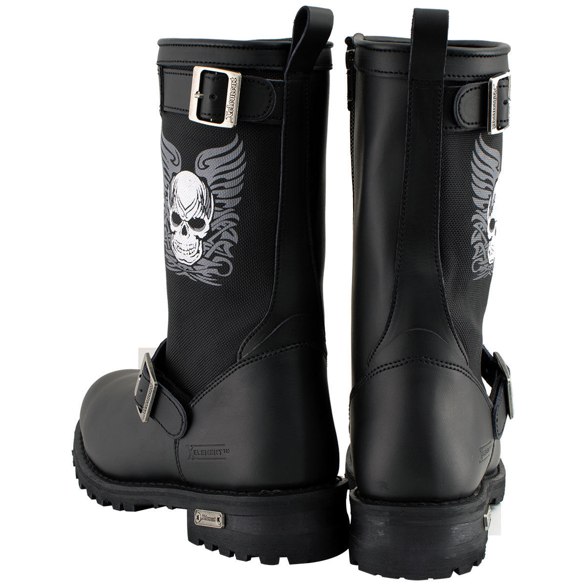 Xelement X19405 Mens Black Tribal Skull Boots with Poron Insoles