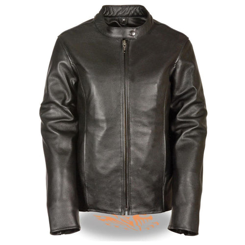 Milwaukee Leather LKL2720 Womens Black Classic Side Lace Leather Motorcycle Jacket