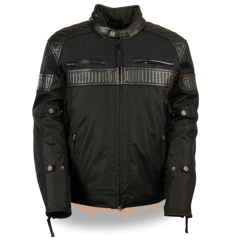 Milwaukee Leather MPM1735 Men's Black Textile Scooter Jacket with Leather Trim